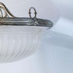 Classic French Frosted Glass and Silver Plated Pendant of Grand Size - 1796535