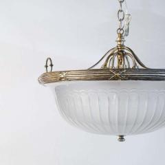Classic French Frosted Glass and Silver Plated Pendant of Grand Size - 1796537
