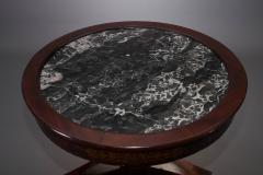Classical Gilt Stenciled Carved Mahogany Marble Top Center Table - 38185