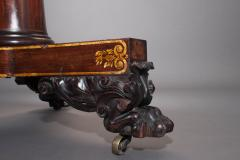 Classical Gilt Stenciled Carved Mahogany Marble Top Center Table - 38186