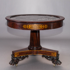 Classical Gilt Stenciled Carved Mahogany Marble Top Center Table - 38231