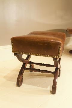 Classical Mahogany and Leather Covered Stool Circa 1820 America - 1794224