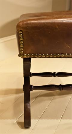 Classical Mahogany and Leather Covered Stool Circa 1820 America - 1794225