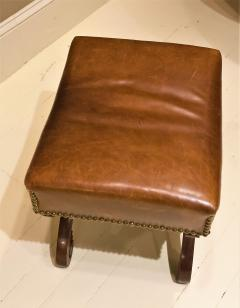 Classical Mahogany and Leather Covered Stool Circa 1820 America - 1794228