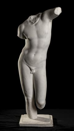 Classical White Plaster Cast Nude Sculpture of Apollo After The Antique - 2137101