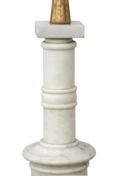 Classically inspired Italian 1950s Carrara Marble Columnar Lamp - 1977028