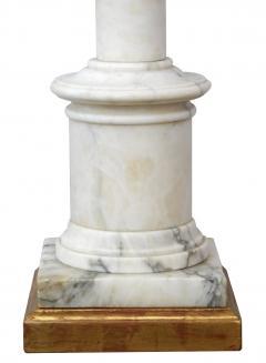 Classically inspired Italian 1950s Carrara Marble Columnar Lamp - 1977030