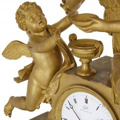 Claude Galle Empire period gilt bronze mantel clock by Galle - 1274485