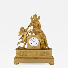 Claude Galle Empire period gilt bronze mantel clock by Galle - 1275887