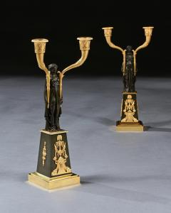 Claude Galle IMPORTANT PAIR OF EARLY EMPIRE FRENCH GILT BRONZE CANDELABRA - 2142089