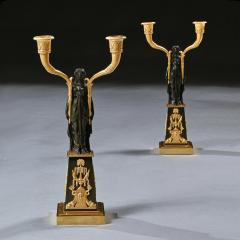 Claude Galle IMPORTANT PAIR OF EARLY EMPIRE FRENCH GILT BRONZE CANDELABRA - 2142095
