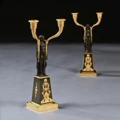 Claude Galle IMPORTANT PAIR OF EARLY EMPIRE FRENCH GILT BRONZE CANDELABRA - 2142096