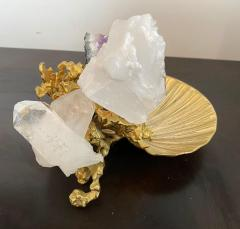 Claude Victor Boeltz Claude Victor Boeltz Golden Crystal French 1970s Table Sculpture - 2037815
