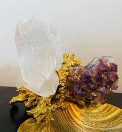 Claude Victor Boeltz Claude Victor Boeltz Golden Crystal French 1970s Table Sculpture - 2037824