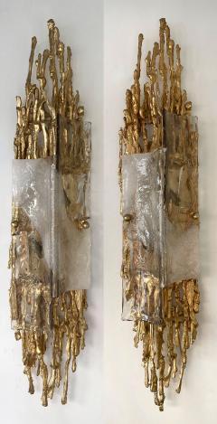 Claude Victor Boeltz Pair of Gilt Bronze Murano Glass Sconces by Claude Victor Boeltz France 1970s - 2127954