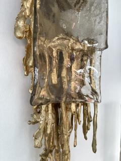 Claude Victor Boeltz Pair of Gilt Bronze Murano Glass Sconces by Claude Victor Boeltz France 1970s - 2127959