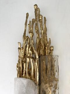 Claude Victor Boeltz Pair of Gilt Bronze Murano Glass Sconces by Claude Victor Boeltz France 1970s - 2127960