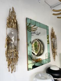 Claude Victor Boeltz Pair of Gilt Bronze Murano Glass Sconces by Claude Victor Boeltz France 1970s - 2127961