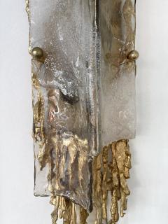 Claude Victor Boeltz Pair of Gilt Bronze Murano Glass Sconces by Claude Victor Boeltz France 1970s - 2127962