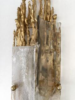 Claude Victor Boeltz Pair of Gilt Bronze Murano Glass Sconces by Claude Victor Boeltz France 1970s - 2127965