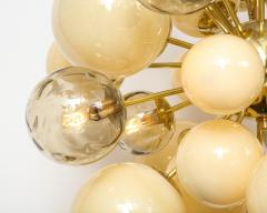 Clear Smoked and Opaque Ivory Murano Glass and Brass Sputnik Chandelier Italy - 1790714