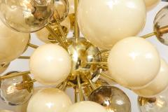 Clear Smoked and Opaque Ivory Murano Glass and Brass Sputnik Chandelier Italy - 1790716
