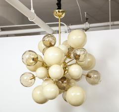 Clear Smoked and Opaque Ivory Murano Glass and Brass Sputnik Chandelier Italy - 1790718