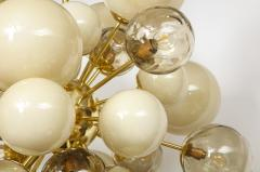 Clear Smoked and Opaque Ivory Murano Glass and Brass Sputnik Chandelier Italy - 1790719