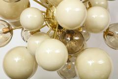 Clear Smoked and Opaque Ivory Murano Glass and Brass Sputnik Chandelier Italy - 1790721