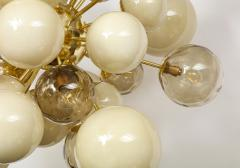Clear Smoked and Opaque Ivory Murano Glass and Brass Sputnik Chandelier Italy - 1790722