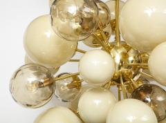 Clear Smoked and Opaque Ivory Murano Glass and Brass Sputnik Chandelier Italy - 1790723