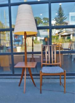Clever Teak Tripod Floor Lamp w Built In Table Hot Shade - 2093772
