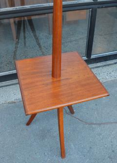 Clever Teak Tripod Floor Lamp w Built In Table Hot Shade - 2093836