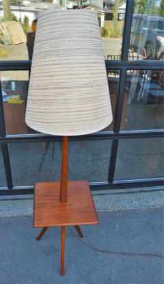 Clever Teak Tripod Floor Lamp w Built In Table Hot Shade - 2093842