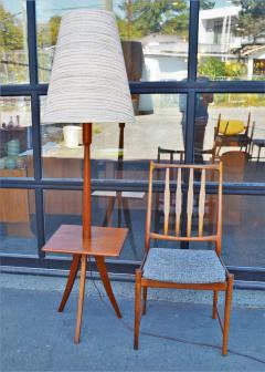 Clever Teak Tripod Floor Lamp w Built In Table Hot Shade - 2093843