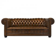 Cognac Leather English Chesterfield Sofa - 606878