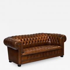 Cognac Leather English Chesterfield Sofa - 607549
