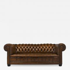 Cognac Leather English Chesterfield Sofa - 746408
