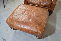 Colin Pearson English Regency Gator Embossed Lounge Chair and Ottoman by Pearson - 1920353