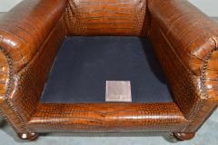 Colin Pearson English Regency Gator Embossed Lounge Chair and Ottoman by Pearson - 1920354