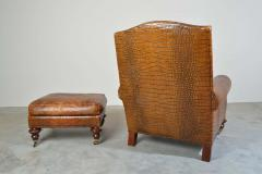 Colin Pearson English Regency Gator Embossed Lounge Chair and Ottoman by Pearson - 1920355