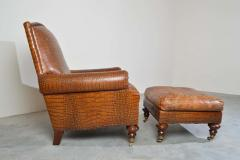 Colin Pearson English Regency Gator Embossed Lounge Chair and Ottoman by Pearson - 1920356