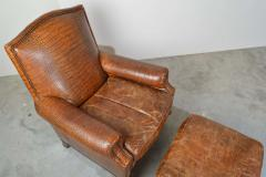 Colin Pearson English Regency Gator Embossed Lounge Chair and Ottoman by Pearson - 1920357