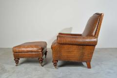 Colin Pearson English Regency Gator Embossed Lounge Chair and Ottoman by Pearson - 1920358