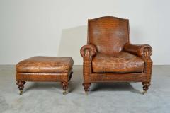 Colin Pearson English Regency Gator Embossed Lounge Chair and Ottoman by Pearson - 1920359