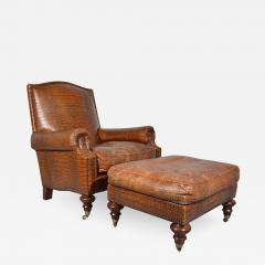 Colin Pearson English Regency Gator Embossed Lounge Chair and Ottoman by Pearson - 1921154
