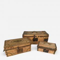 Collection of 3 Early Parchment Covered Boxes - 1040375