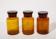 Collection of 7 Amber Glass Apothecary Jars - 2006477