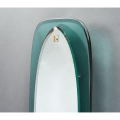 Colored Glass Slim Beveled and Curved Mirror Italy 1950s - 1488996