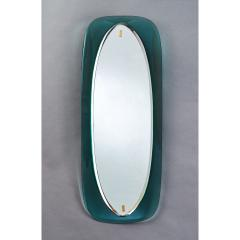 Colored Glass Slim Beveled and Curved Mirror Italy 1950s - 1489000